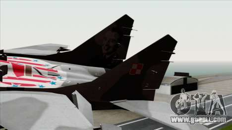 MIG-29A Polish Air Force Kosynierzy for GTA San Andreas back left view