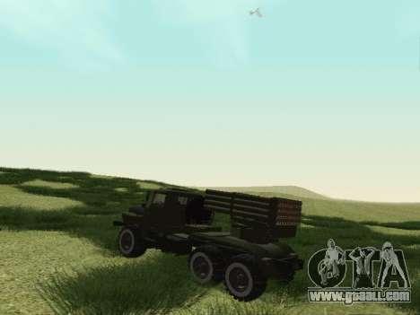 Ural 375 Grad MLRS for GTA San Andreas right view