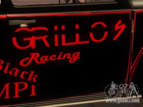 Volkswagen Super Beetle Grillos Racing v1 for GTA San Andreas inner view