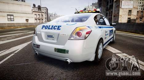 Nissan Altima Hybrid NYPD for GTA 4 back left view