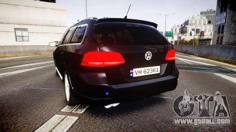 Volkswagen Passat B7 Police 2015 [ELS] unmarked for GTA 4 back left view
