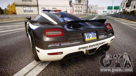 Koenigsegg Agera 2013 Police [EPM] v1.1 PJ3 for GTA 4 back left view
