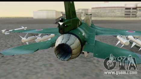 F-2A Zero Dark Green for GTA San Andreas back view