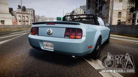 Ford Mustang Convertible Mk.V 2008 for GTA 4 back left view