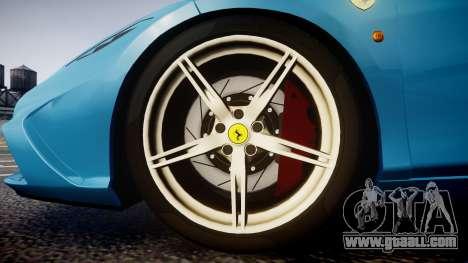 Ferrari 458 Speciale 2014 for GTA 4 back view