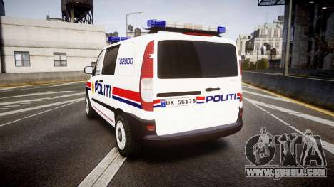 Mercedes-Benz Vito 2014 Norwegian Police [ELS] for GTA 4 back left view