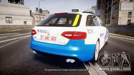 Audi S4 Avant Belgian Police [ELS] for GTA 4 back left view