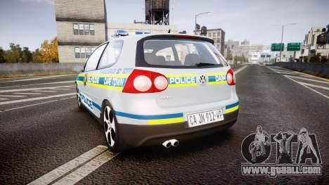 Volkswagen Golf South African Police [ELS] for GTA 4 back left view