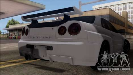 Nissan Skyline GT-R34 for GTA San Andreas back view