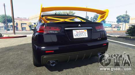 GTA 5 Karin Kuruma Mitsubishi Lancer Evolution X rear left side view