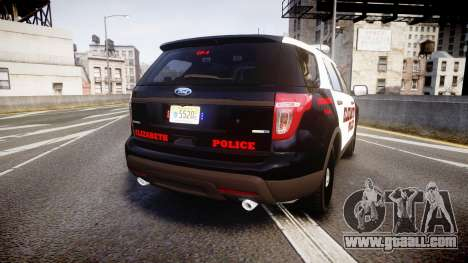 Ford Explorer 2011 Elizabeth Police [ELS] for GTA 4 back left view