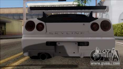 Nissan Skyline GT-R34 for GTA San Andreas right view