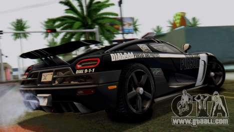 NFS Rivals Koenigsegg Agera R Enforcer for GTA San Andreas