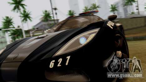 NFS Rivals Koenigsegg Agera R Enforcer for GTA San Andreas back view