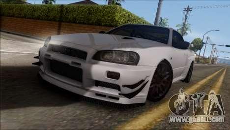 Nissan Skyline GT-R34 for GTA San Andreas