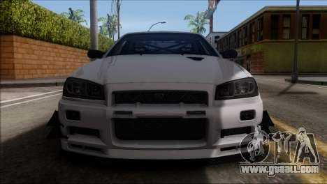 Nissan Skyline GT-R34 for GTA San Andreas side view