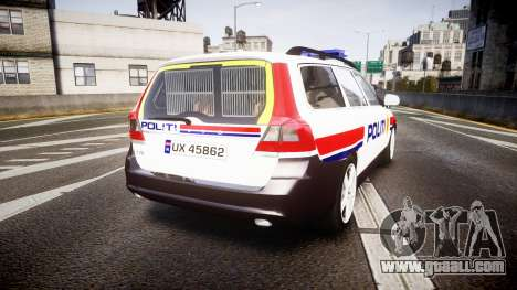 Volvo V70 2014 Norwegian Police [ELS] for GTA 4 back left view