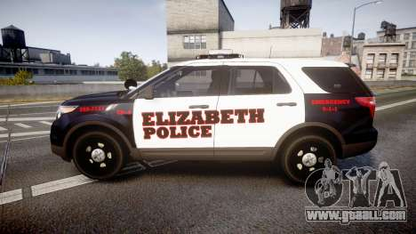 Ford Explorer 2011 Elizabeth Police [ELS] for GTA 4 left view