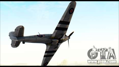 Hawker Hurricane MK IA for GTA San Andreas back left view