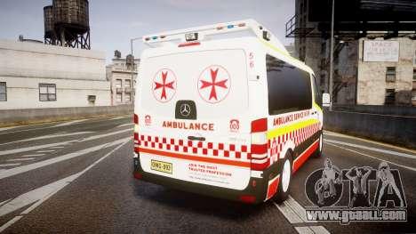 Mercedes-Benz Sprinter NSW Ambulance [ELS] for GTA 4 back left view