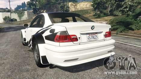 GTA 5 BMW M3 GTR E46 black on white rear left side view