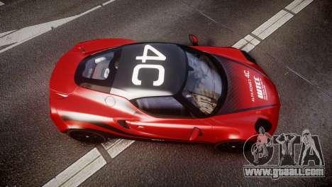 Alfa Romeo 4C 2014 WTCC Safety Car for GTA 4 right view