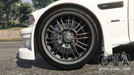 GTA 5 BMW M3 GTR E46 black on white rear right side view