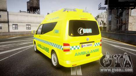 Volkswagen Transporter Norwegian Ambulance [ELS] for GTA 4 back left view