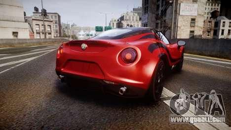 Alfa Romeo 4C 2014 WTCC Safety Car for GTA 4 back left view