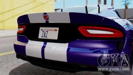 Dodge Viper SRT GTS 2013 HQLM (HQ PJ) for GTA San Andreas back view