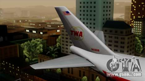Boeing 747 TWA for GTA San Andreas back left view