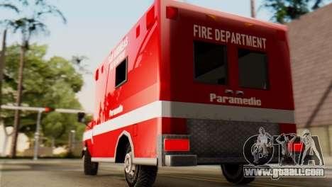 SAFD Ambulance for GTA San Andreas back left view