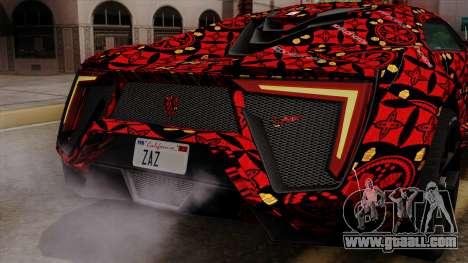 Lykan Hypersport Batik for GTA San Andreas bottom view
