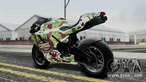 Bati Wayang Camo Motorcycle for GTA San Andreas back left view