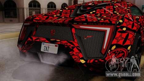 Lykan Hypersport Batik for GTA San Andreas upper view