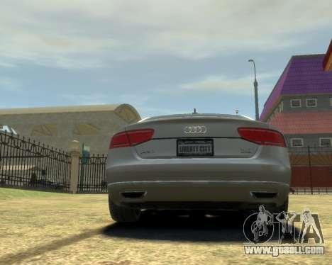 Audi A8L W12 2013 for GTA 4 right view