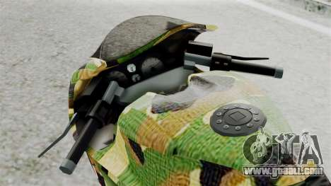 Bati Motorcycle Camo Shark Mouth Edition for GTA San Andreas back view