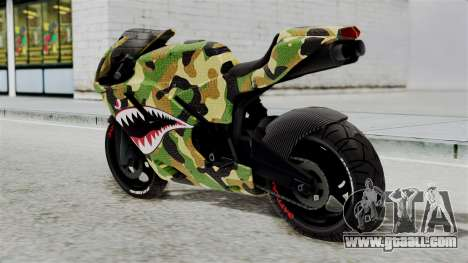 Bati Motorcycle Camo Shark Mouth Edition for GTA San Andreas left view