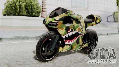 Bati Motorcycle Camo Shark Mouth Edition for GTA San Andreas