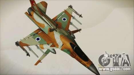 F-16C Block 25 Israeli Air Force for GTA San Andreas back left view