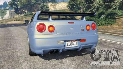 GTA 5 Nissan Skyline R34 2002 rear left side view