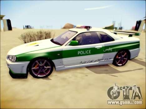 Nissan Skyline Iranian Police for GTA San Andreas back left view