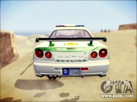 Nissan Skyline Iranian Police for GTA San Andreas back view