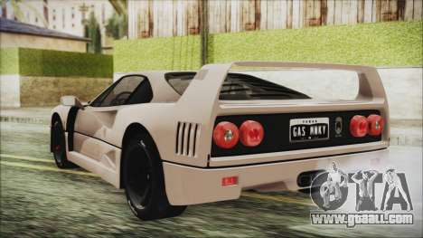 Ferrari F40 Gas Monkey for GTA San Andreas left view