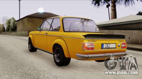 BMW 2002 Turbo 1973 Stock for GTA San Andreas back left view
