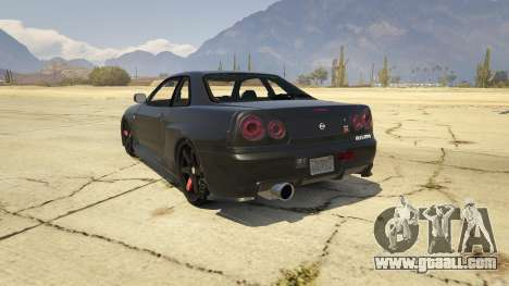 GTA 5 Nissan Skyline GTR R34 rear left side view