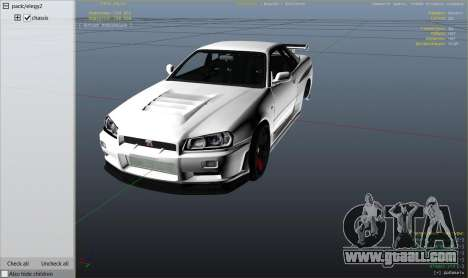 GTA 5 Nissan Skyline GTR R34 rear right side view