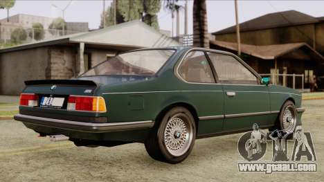 BMW M635 E24 CSi 1984 Stock for GTA San Andreas back left view