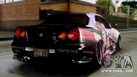 Nissan Skyline R34 Stance Nico Yazawa Itasha for GTA San Andreas left view
