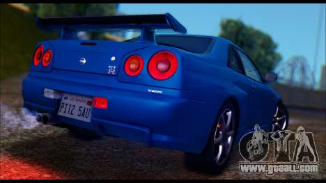 Nissan Skyline R-34 GT-R V-spec 1999 Tunable for GTA San Andreas back left view